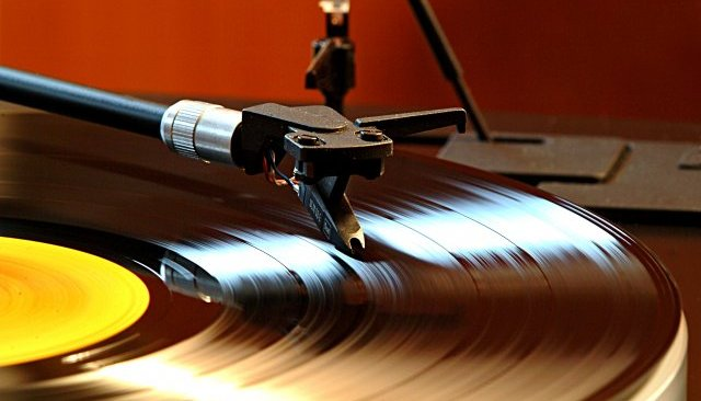 Record player with needle
