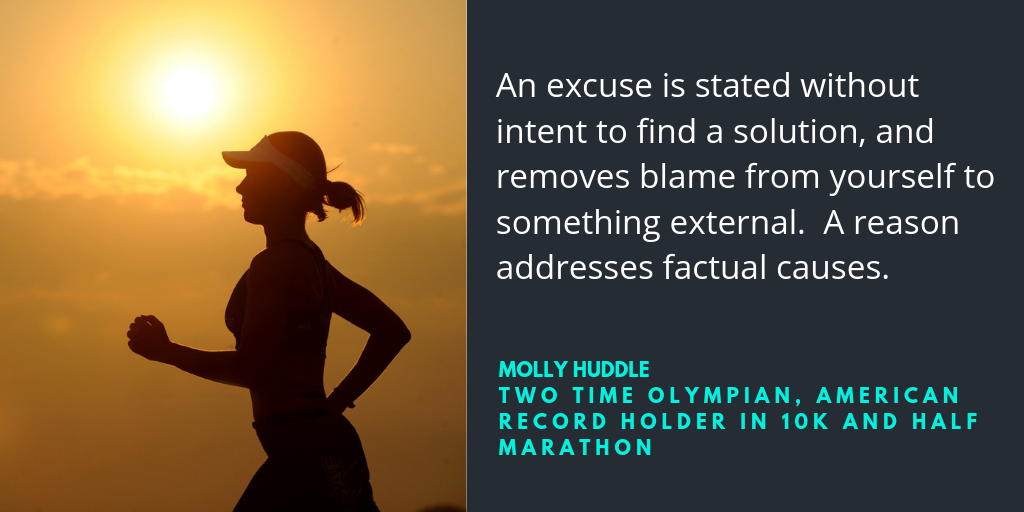 An excuse is stated without intent to find a solution, and removes blame from yourself to something external. A reason addresses factual causes.